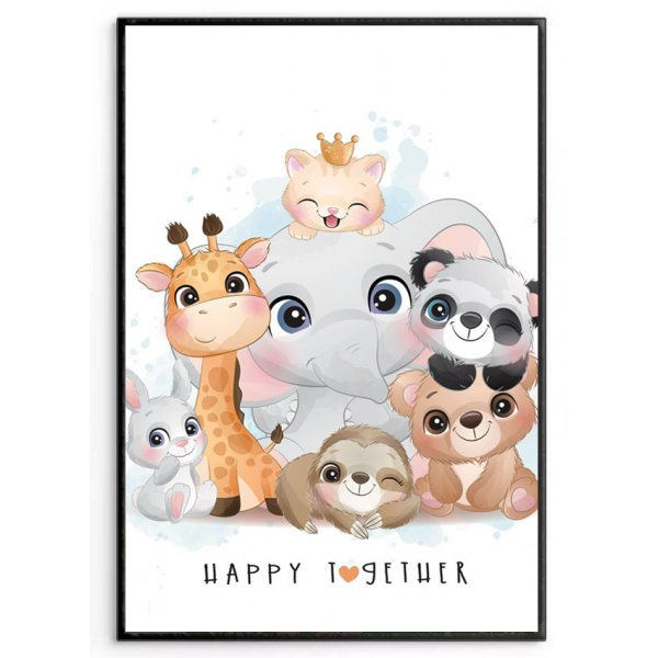 Cute animal collection - Kids room poster