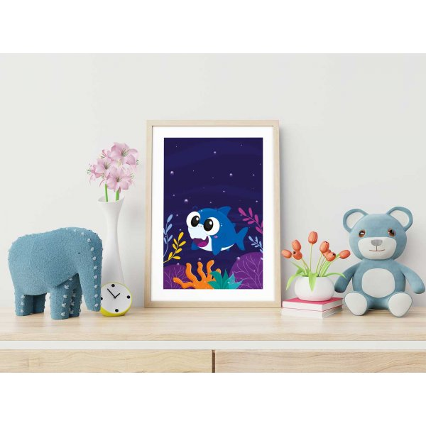 Kids poster with cartoon shark illustration