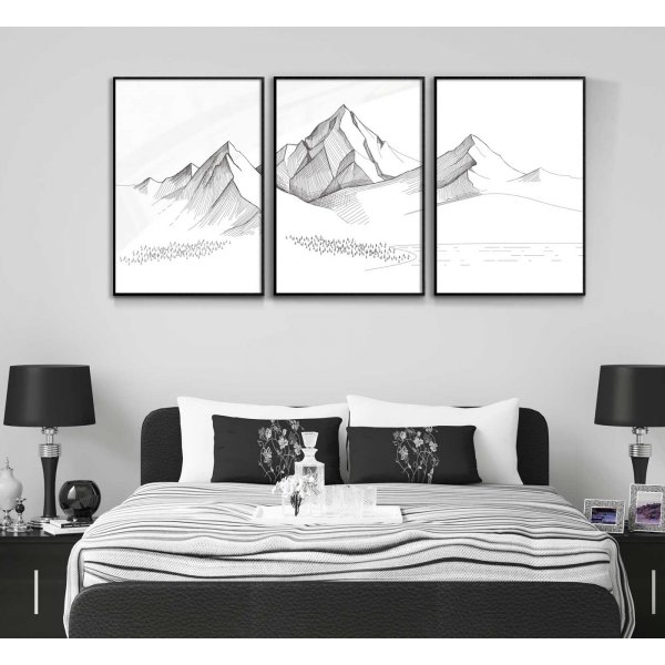 Illustrated mountains - Three piece posters