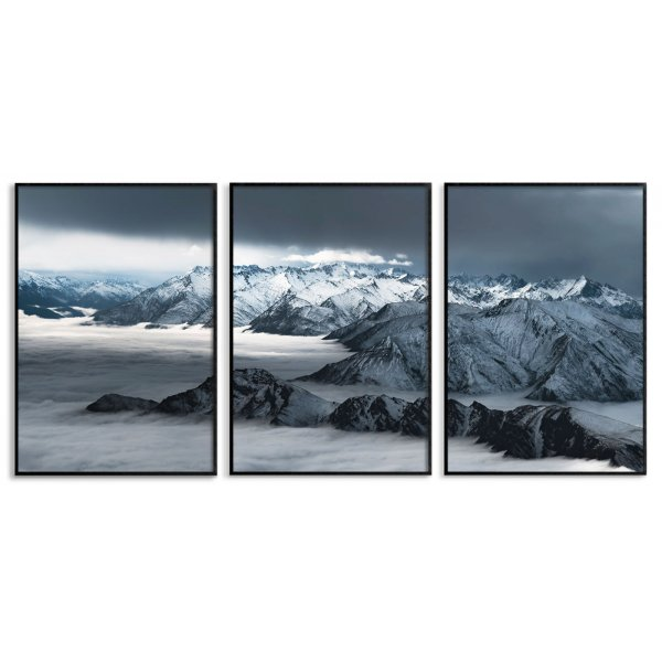 Foggy mountains - Three piece posters