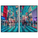 Streets of Tokyo - Teal poster in two pieces