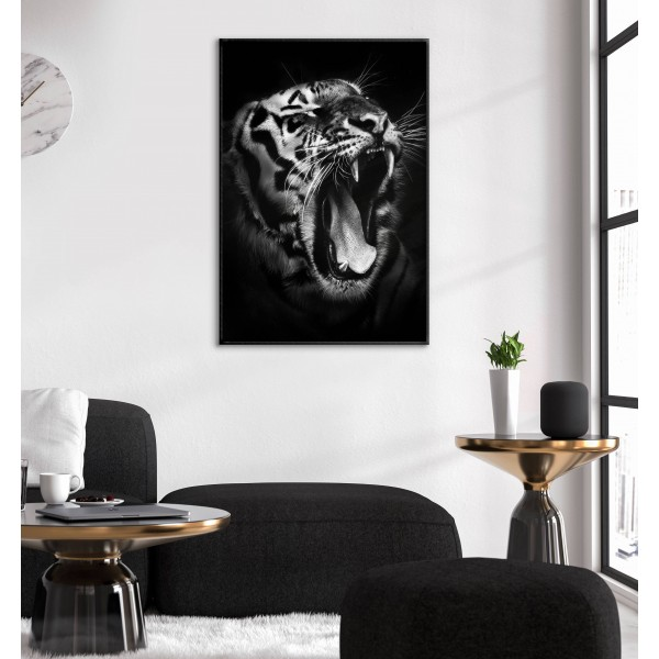 Tiger Roars - Black and White Poster