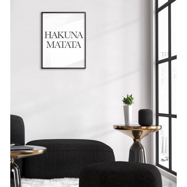 Hakuna Matata - Black and White Poster