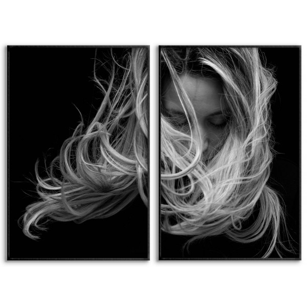 Woman and Hair - Two Piece Poster