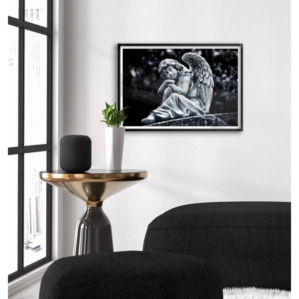 Girl angel statue - Black and white poster