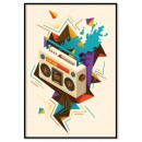 Retro music boom box poster