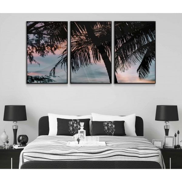 Exotic palm trees silhouette - Three piece poster