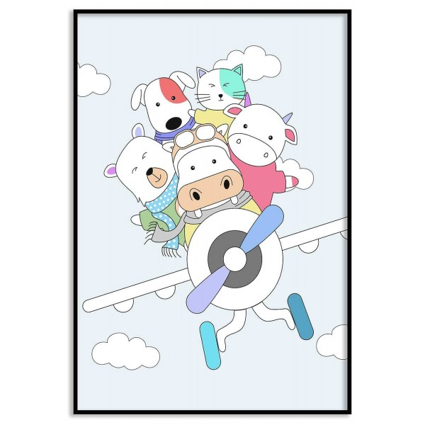 Cute animals in a classic aircraft - Poster