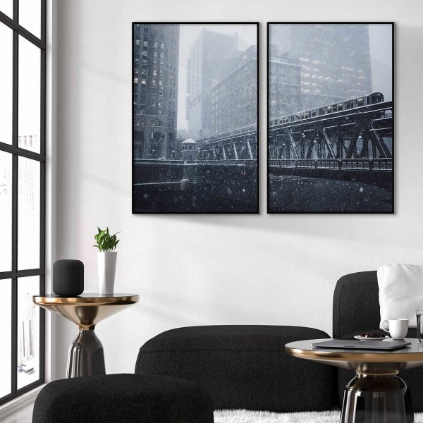 Snowy Chicago - Poster in two pieces