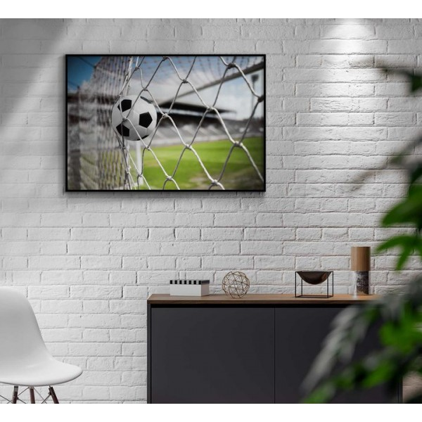 Soccer ball in goal - Sports poster