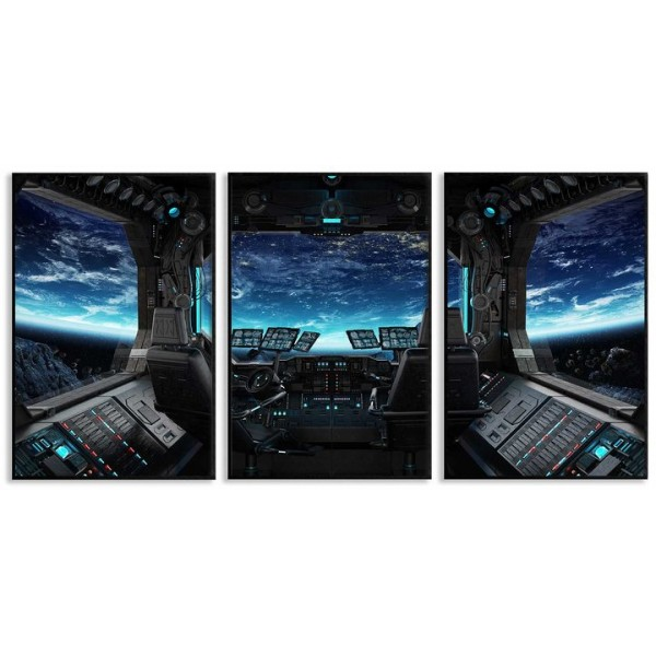 Space ship cockpit - Three piece poster