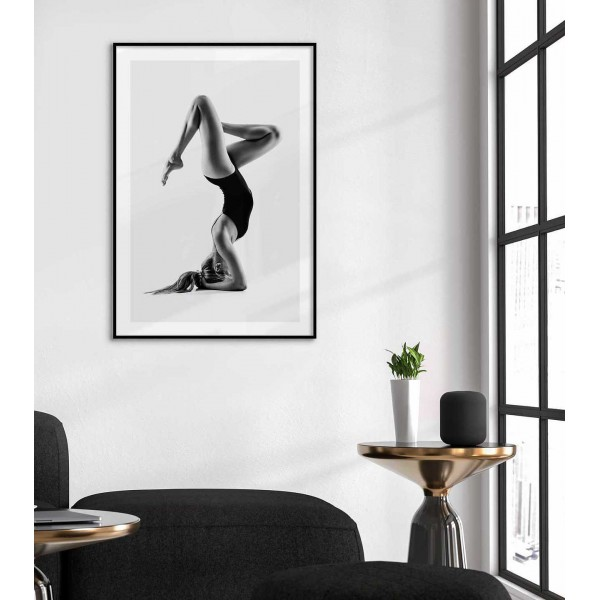 Yoga woman - Black and white poster