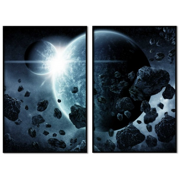 Astroids and earth - Poster in two pieces
