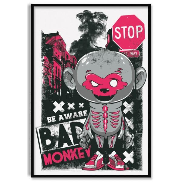 Cool Cartoon Bad Monkey - Poster
