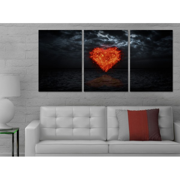 Heart on Fire over the Sea - Poster in Three Pieces