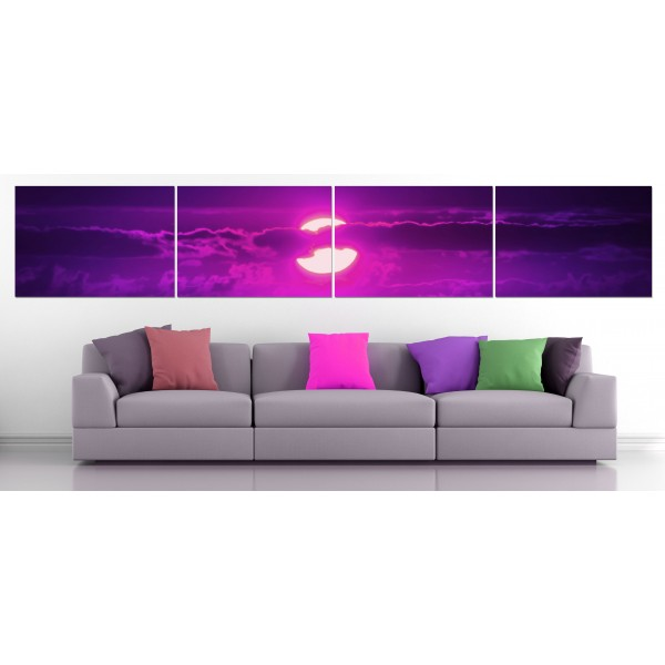 Purple Sunset - Poster in Four Pieces