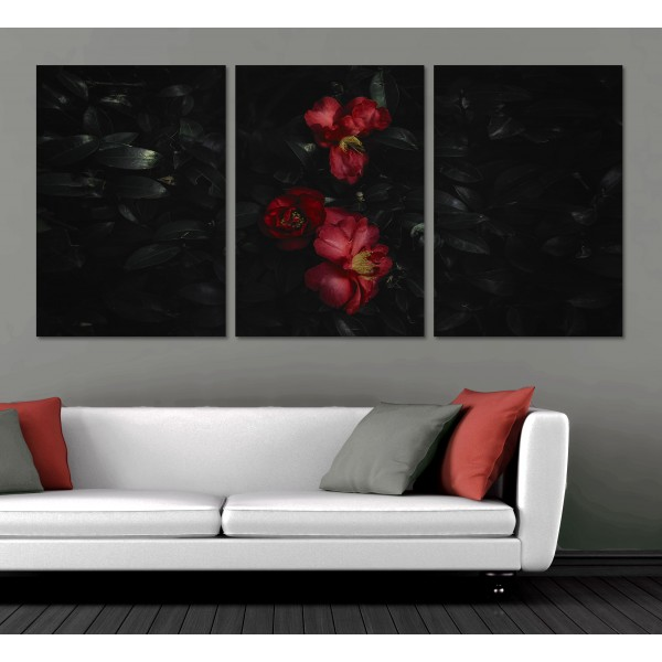 Red Flowers in a Dark Environment - Poster in Three Pieces