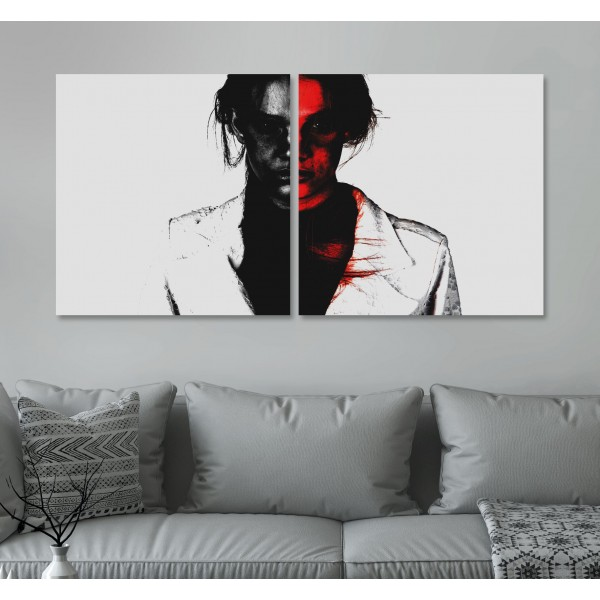Red Woman - Poster in Two Pieces