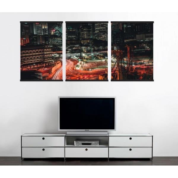 Singapore Dark City Night - Big Poster in Three Pieces