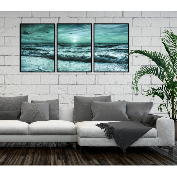 Turquoise Sea - Big Poster in Three Pieces